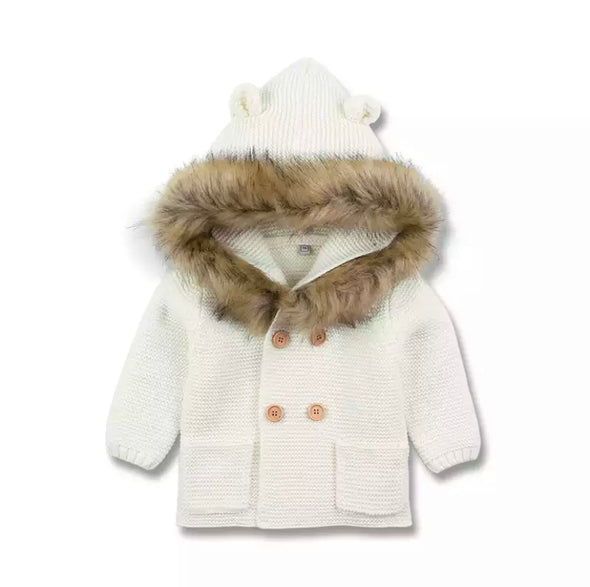 Malci White Knitted Faux Fur Hooded Jacket