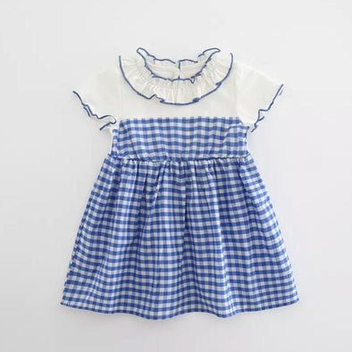 Hannah Blue Checked Dress
