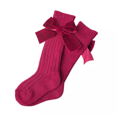 Burgundy Red Thick Wool Bow Socks