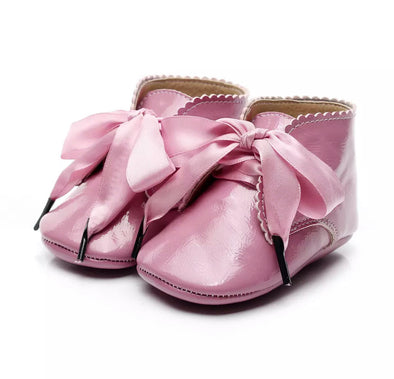 Toby Dark Pink Ribbon Booties