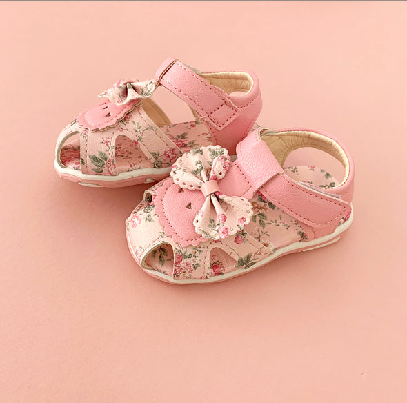 Girls Soft Baby Pink Bow Sandals