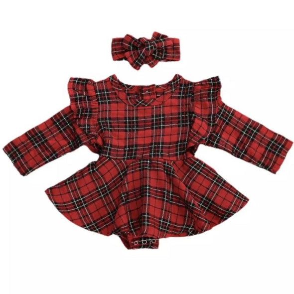 Monday Long Sleeved Red Checked Bow Dress