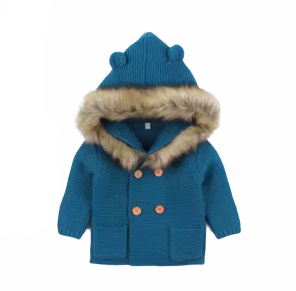 Malci Blue Knitted Faux Fur Hooded Jacket