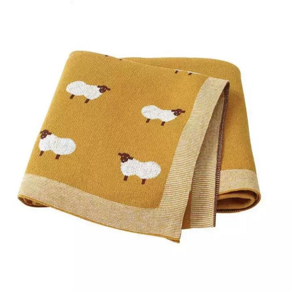 Yellow Sheep Cotton Blanket