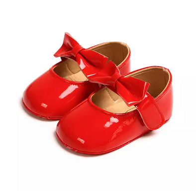 Red Patent Bow Front Shoes