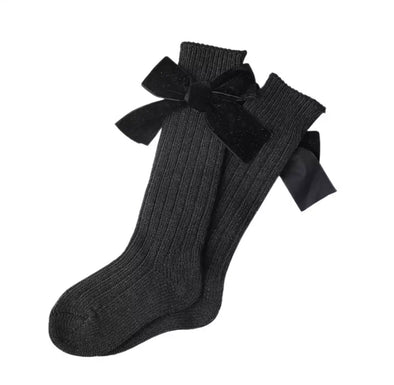 Black Thick Wool Bow Socks