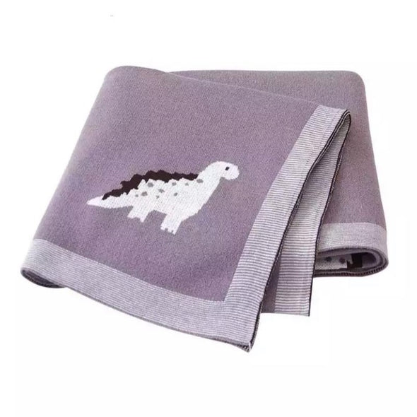 Purple Dino Cotton Blanket