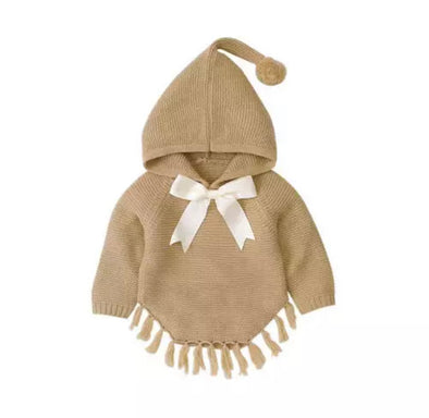 Izzy Cream Knitted Bow Poncho
