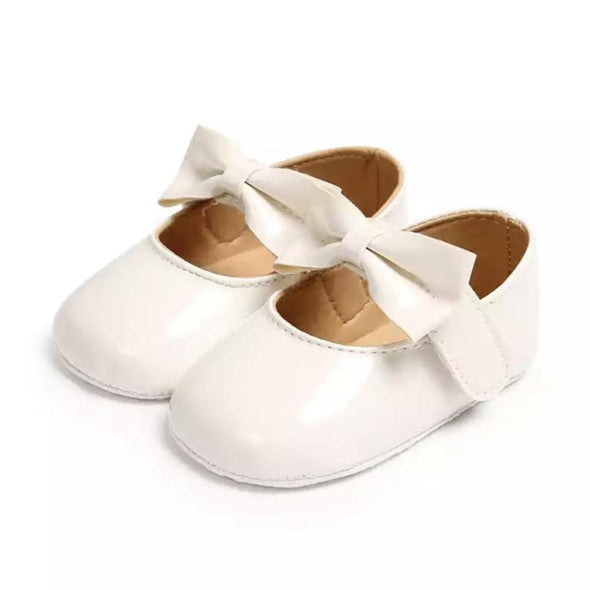 White Patent Bow Front Shoes