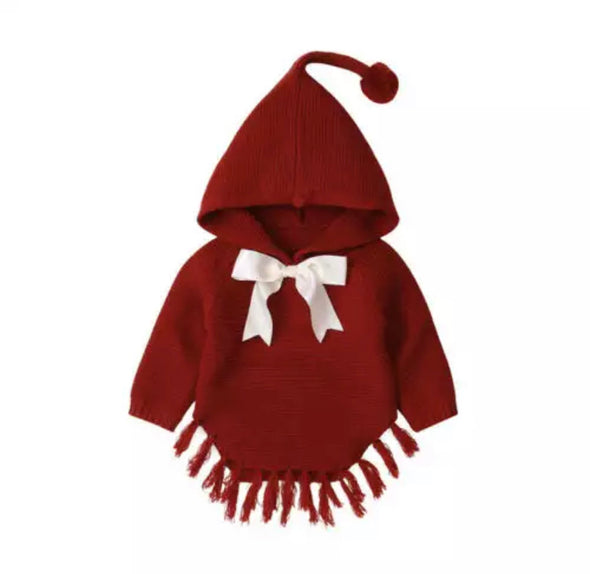 Izzy Red Knitted Bow Poncho