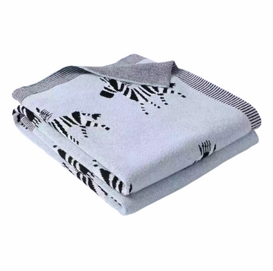 Blue Cotton Zebra Blanket