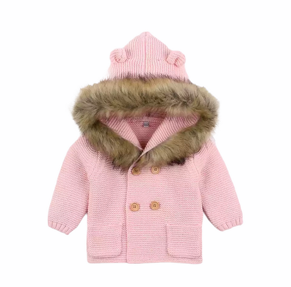 Malci Pink Knitted Faux Fur Hooded Jacket