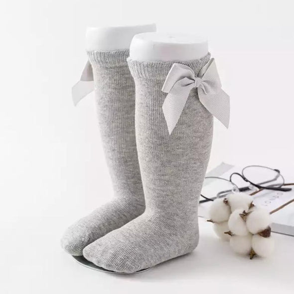 Light Grey Bow Socks