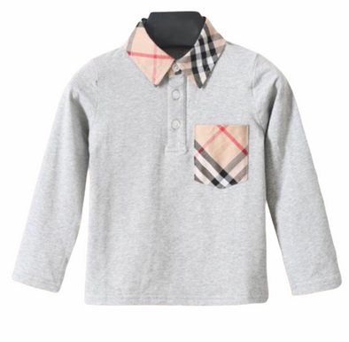 Beau Grey Checked Collar Top