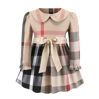 Piper Long Sleeved Collared Bow Dress