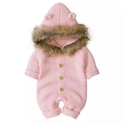 Brooklyn Pink Knitted Snowsuit
