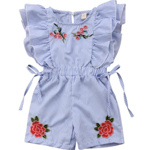 Leanne Striped Rose Detail Playsuit