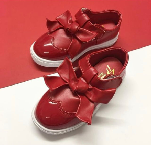 Red Patent Bow Front Trainers