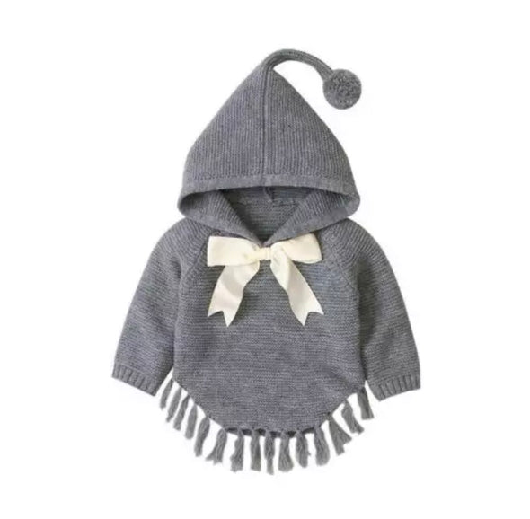 Izzy Grey Knitted Bow Poncho