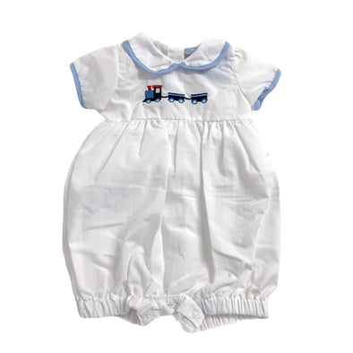 Bobby a white Train Romper suit