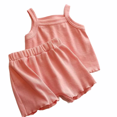 Athena Pink Ribbed Shorts Set