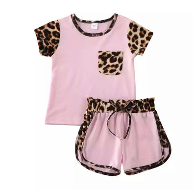 Demi Leopard Trim Shorts Set
