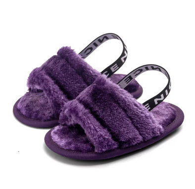 Purple Baby Fluffy Slip On Sandals