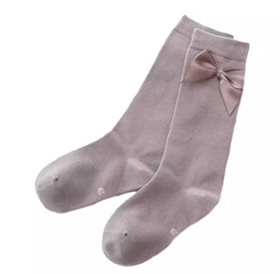 Dark Grey Bow Socks