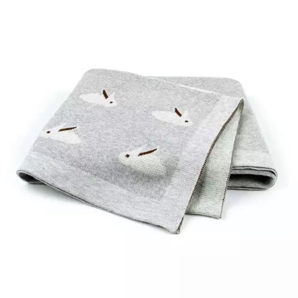 Light Grey Rabbit Cotton Blanket