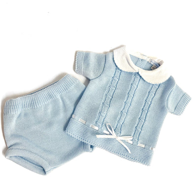 Liam Baby Blue Bow Knitted Set