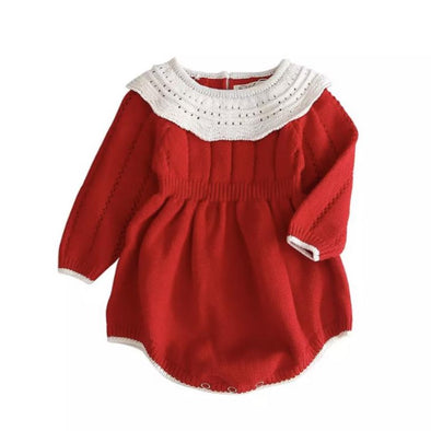 Carmen Red Collared Knitted Romper