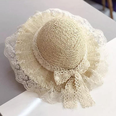 White Lace Trim Bow Straw Summer Hat