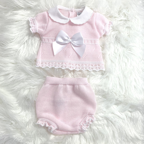 Avery Pink Bow Two Piece Knitted Set