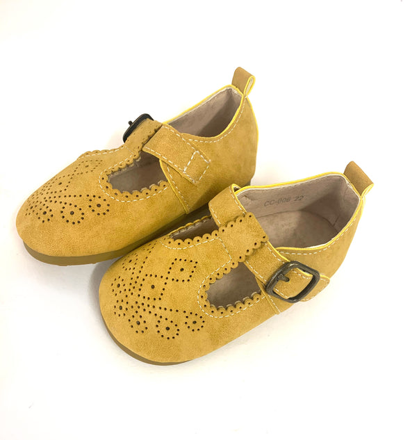 Mustard T Bar Pattern Shoes