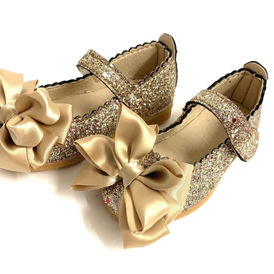 Gold Glitter Bow Shoes