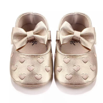 Gold Bow Front Heart Shoes