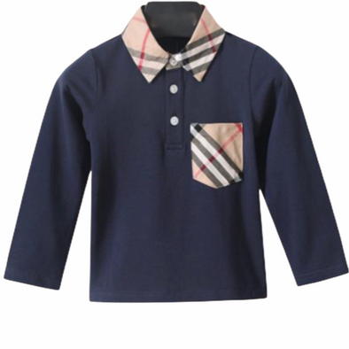 Beau Navy Checked Collar Top
