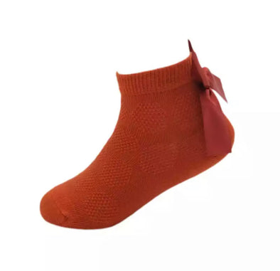 Burnt Orange Bow Back Ankle Socks