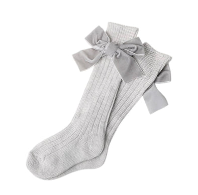 Light Grey Thick Wool Bow Socks