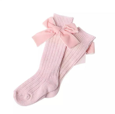 Pink Thick Wool Bow Socks