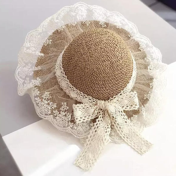Brown Lace Trim Bow Straw Summer Hat