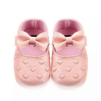 Pink Bow Front Heart Shoes