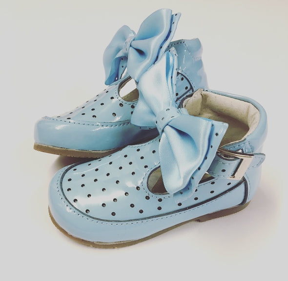 Blue Patent Leather Bow Front Buckle Shoes