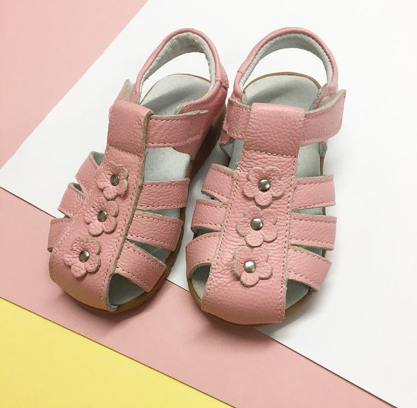 Pink Soft Leather Flower Sandals