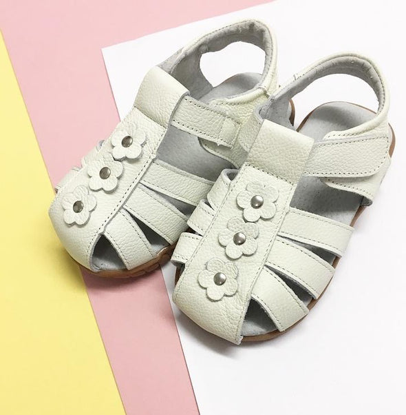 White Soft Leather Flower Sandals