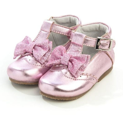 Girls Glitter Pink Leather Bow Shoes