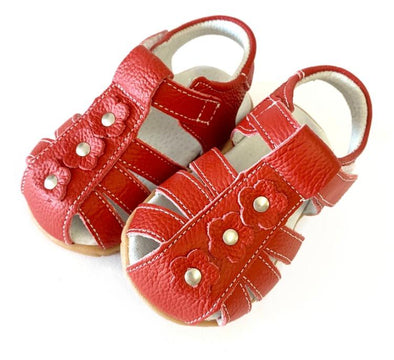 Red Soft Leather Flower Sandals