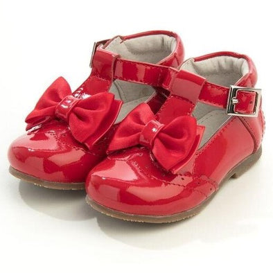 Girls Red Patent Leather Bow Shoes