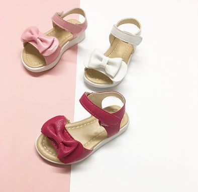 Girls Soft Leather Bow Front Sandals - Huntleys Shoes