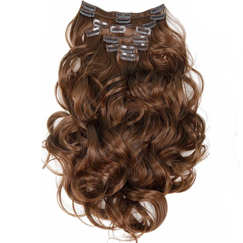 Clip in Hair Extensions 8pcs 22inch 55 cm Long Curly Wavy-Makeup Access